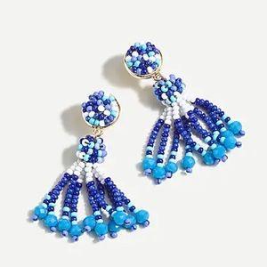 NWT J. Crew Blue White Beaded tassel earrings
